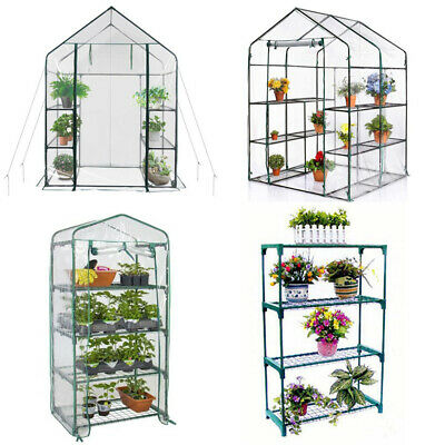 Walk In Greenhouse PVC Plastic Garden Grow Green House Steel Frame Plant Stand