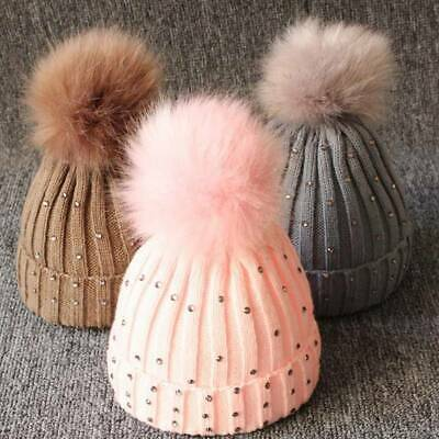 born Baby Kids Pom Hat Winter Warm Crochet Knit Bobble Boys Girls Beanie