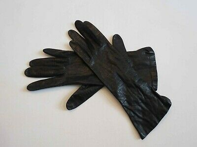 Black Leather Gloves With Elastic at Wrists - Lastic Leather by Fownes - 1960s