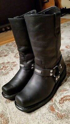 River Road Black Leather Harness Motorcycle Boots #100753 Men's Size 9.5D