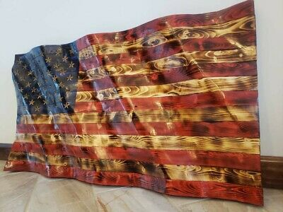 Wooden American Flag.  Wavy Beautiful Hand Carved. Made in the USA!