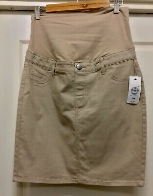 Target Maternity: Taupe twill maternity skirt with tummy band Size 10 (New)
