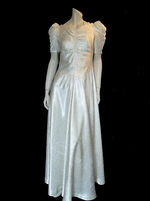 Vintage 1930s Wedding Dress - Satin Damask Gown With Puffy Sleeves