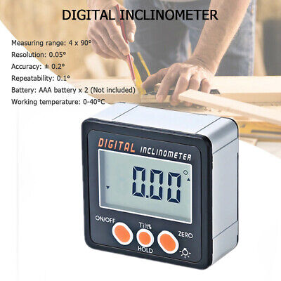 Mini LCD Digital Inclinometer Protractor Bevel Angle Gauge Builtin Magnetic Base