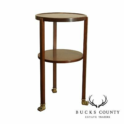 Antique Round Oak Two Tier Stand with Brass Claw Feet