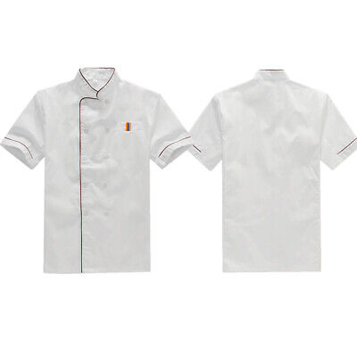 Unisex Plus Size Stand Collar Short Sleeve Blouse Tops Cook Chef Work Wear Shirt