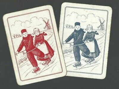 Swap Playing Cards 2 WIDE VINT ENG DUTCH KIDDIES SKATING ON THE CANAL PAIR EW137