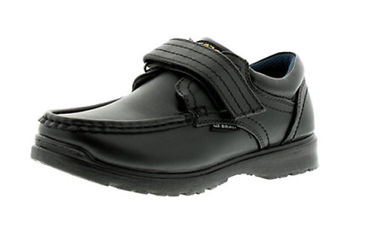 US Brass Ted Boys Black Faux Leather Single Touch Fastening Smart School Shoes
