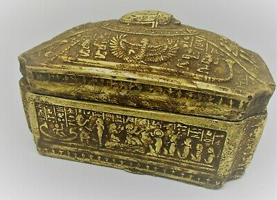 Ancient Egyptian Gold Gilded Sarcophagus Box Amazing Details Very Beautiful