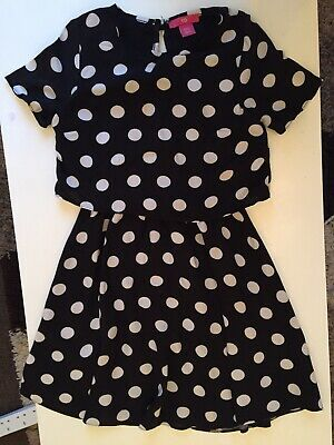 Girls Black With White Spots Dress Used Age 8 / 9 Years YD
