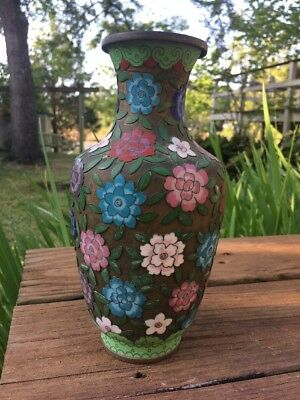 Antique Chinese Cloisonne Enamel Champleve Floral Vase  Signed China Unique