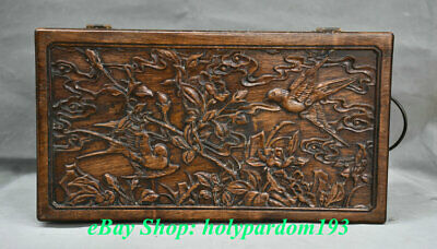 """12"""" Old China Huanghuali Wood Hand Carving Palace Flower Bird Jewel Case or Box"""