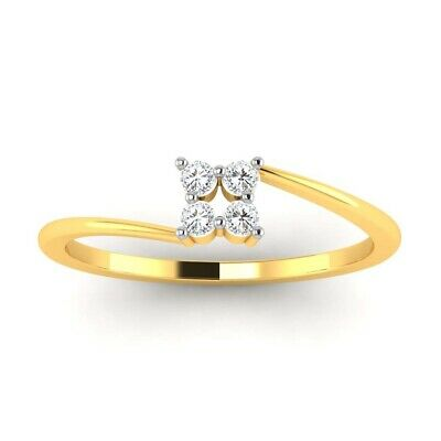Brilliant Cut 0.20 Ctw Natural Diamond Ladies Ring Size 5 6 Real 14k Yellow Gold