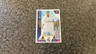 Match Attax Ucl 2018/19 No-433 Sergio Ramos Hundred Club Xl Mint