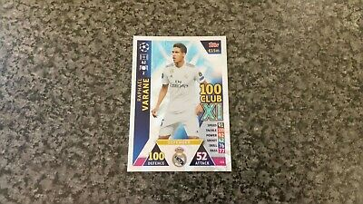 Match Attax Ucl 2018/19 No-432 Raphael Varane Hundred Club Xl Mint