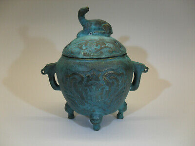Old Chinese bronze censer with Pixiu beast handle, marks underneath.