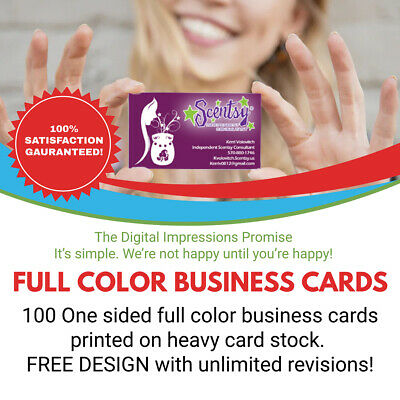 100 Full Color One Sided Business Cards WITH Free Design! HEAVY Card Stock!