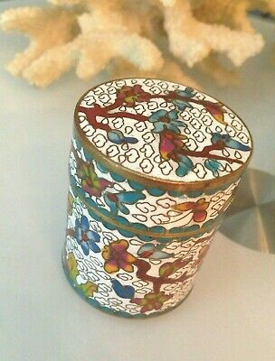 Fine Antique Chinese Cloisonne Enamel Brass Flowers Lidded Snuff Box Jar round
