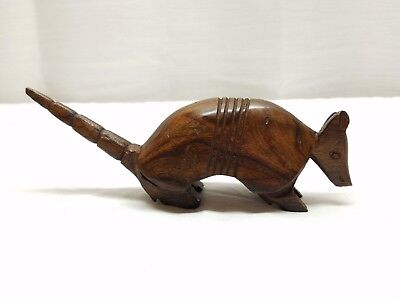 Vintage Mid Century Modern Ironwood Wood Armadillo Folk Art Figurine Sculpture