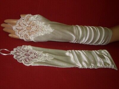 Fingerless Bridal Gloves Beads Strickereien Cream White 46cm