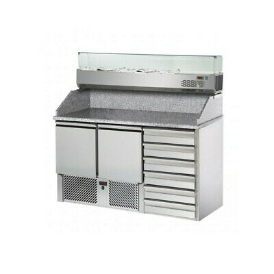 Refrigerated Saladette Td with Floor and Riser in Granite + Showcase - 2 Port +