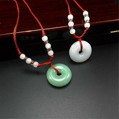 Chinese Hand-Carved Glass Jade Round Safety Buckle Pendant & Red Rope Necklace