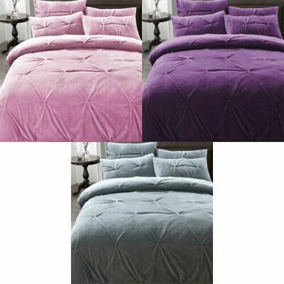 Madison Pinch Pleat Teddy Fleece Duvet Cover Set With Pillowcases All Sizes