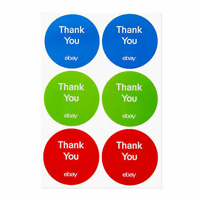 """NEW 3-Color Round eBay-Branded Thank You Sticker Multi-Pack 3"""" x 3"""" Lot of 100"""