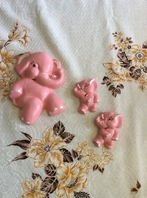 Vtg Ceramic Elephant Hanging Wall Plaque Set 3 Plaster Painted Big Small Pink