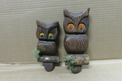 Witco Owl Vintage Mid Century Kitsch Wall decor Wood Big eyes Lot of 2