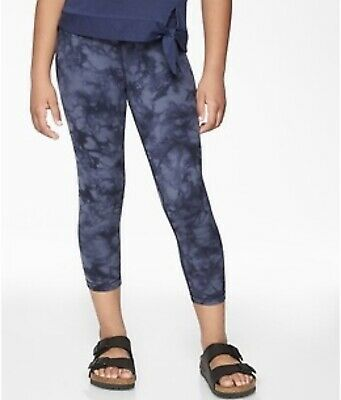 Athleta Girl Tie Dye Powervita Capri S/7  Legging Pant Crop Blue Gray
