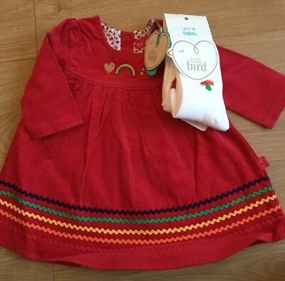 Little bird By Jools Oliver girls Red Cord Dress And Tights Set 6-9 Months 🌈🍄