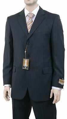 Mens 42L Classic Fit Charcoal Gray Pinstriped Three Button Wool Blend Suit