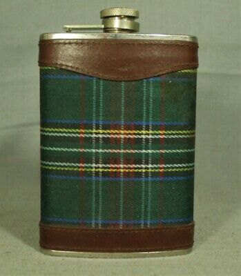 Castleford 8oz hip flask scotch whiskey green plaid