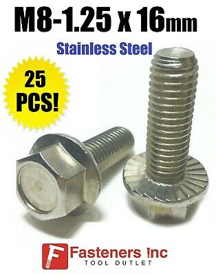(QTY 25) M8-1.25 x 16MM Stainless Steel Hex Cap Flange Bolt Serrated Metric