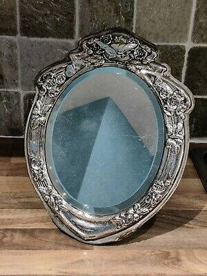 Stunning Antique Victorian Silver Repousse Oval Dressing Table Mirror
