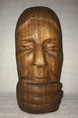 Wood carved bust head hand fingers over mouth face folk art sculpture statue