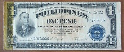 1944 Philippines One Peso VICTORY note F27623558 WWII