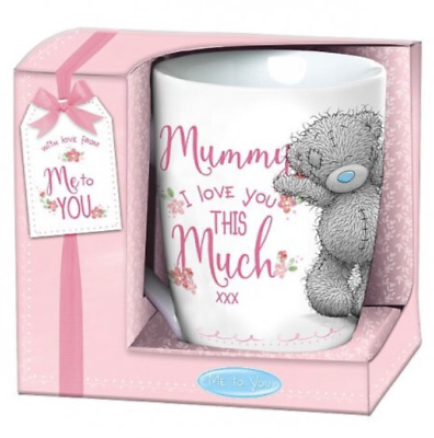 """NEW Mom Mum Mother Gift Mug """"Mummy I Love You This Much"""" (Me to You Teddy Bear)!"""