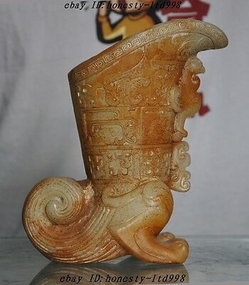 """7"""" Rare Chinese Old Jade pure Hand-Carved Phoenix Beast pattern Wine vessel cup"""