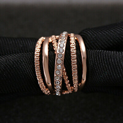Engagement Women Cubic Zirconia Rose Gold Plated Finger Band Rings Multi Layer