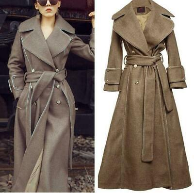 High-end Women Long Wool Coat Swing Slim Thick Outwear Lapel Collar Trench jf01