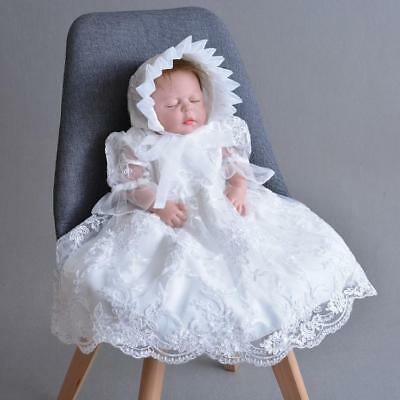 Newborn Baby Girl Baptism Dress Toddler Lace Christening Ablution Dress Gown