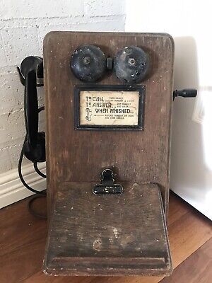 Antique Collectable Wooden Wall Phone Telephone 1920's