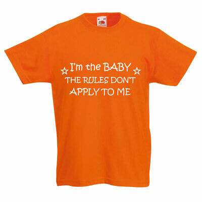 I'm The Baby The Rules Don't Apply To Me Orange Kids Tshirt Unisex Brother Siste