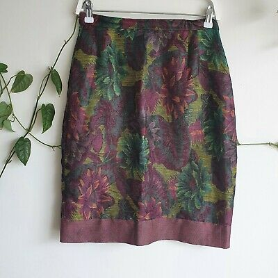 Vintage Burgundy Floral Tapestry Print Linen Cotton Pencil Skirt S High Waisted
