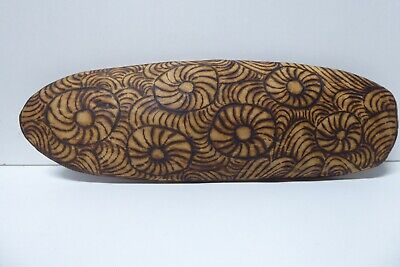 Australian Aboriginal Wire Burnt Decorated Wooden Carved Coolamon Bowl