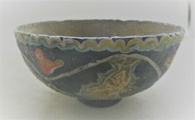 Scarce Ancient Phoenician Mosaic Glass Vessel With Gold Gilt Plate Attachmentsha