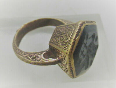 Wonderful Late Medieval Islamic Ottomans Gold Gilded Seal Ring With Agate Stonha