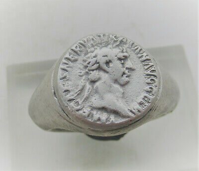 Nice Old Roman Style Silver Ring With Potrait Of Emperor On Bezel
